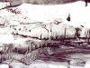 MaDora Frey, Untitled LD#75 (Snow Hole), 2013, Liquid graphite on paper