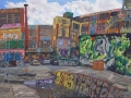 "Todd Gordon ""5 Points Loading Dock"" (oil on canvas, 29x59in)"