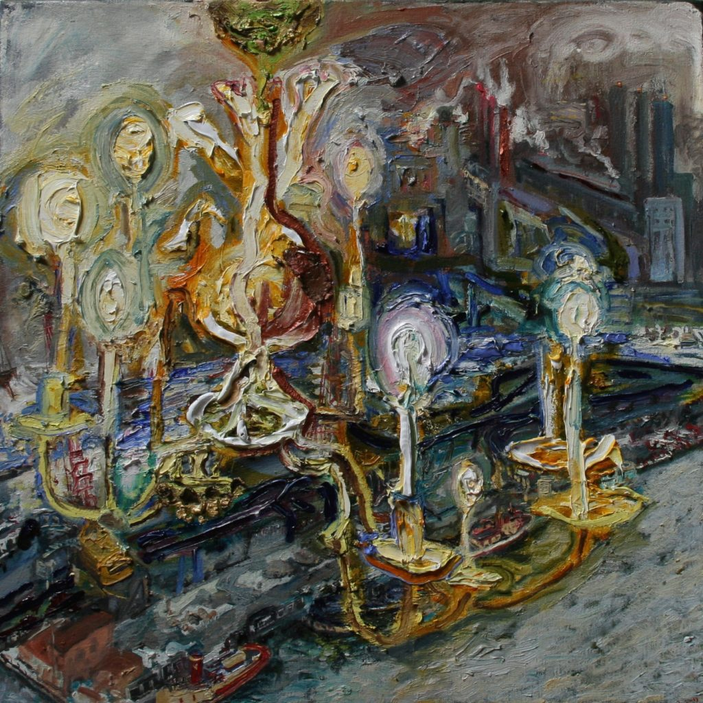 Lizbeth Mitty Chandelier Cold Day, 2015, 24x24, oil on canvas