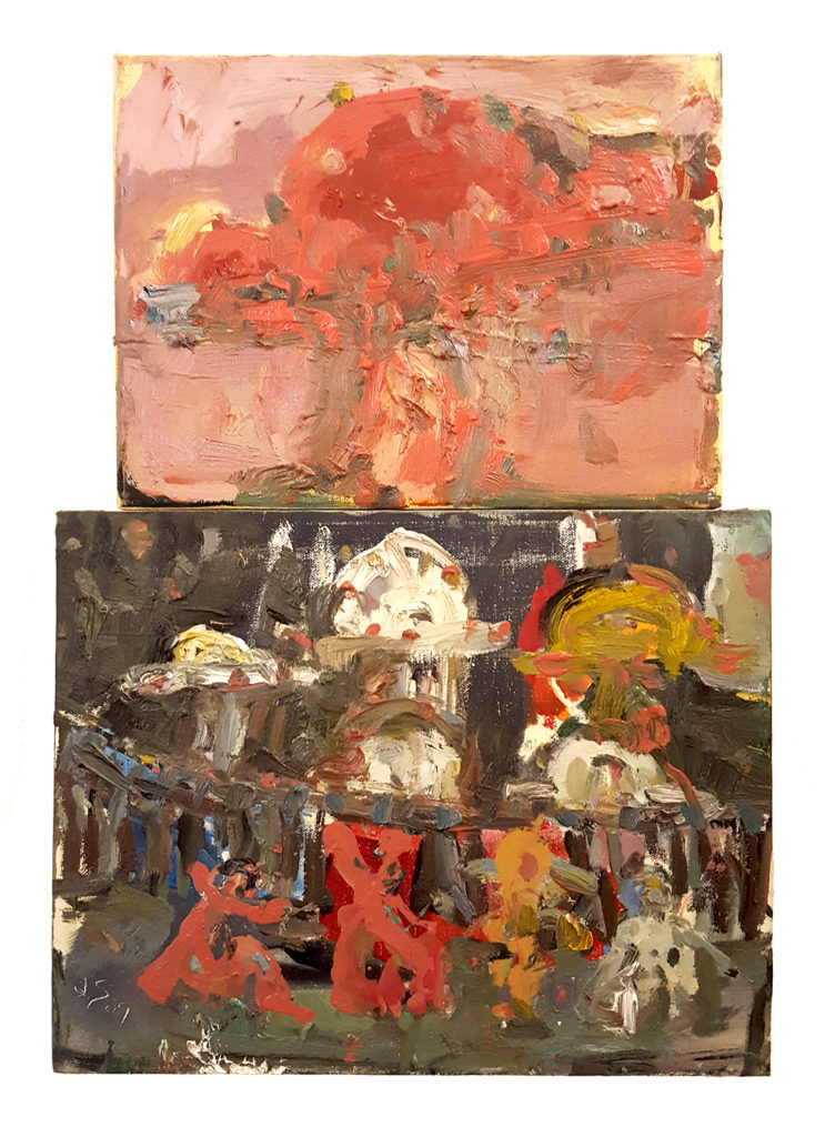 "Farrell Brickhouse War of the Worlds, Russell's Yard Series- 2015, oil on canvas, 20"" x 14"" diptych."