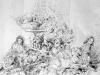 """Ulrike Theusner, Le Grand Bouffe / Die Ballade vom Guten Menschen, 2014, 38"""" x 50"""", ink on paper"""