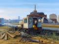 "Pamela Telese ""Train Engine 2 at Brooklyn Navy Yard"" (oil on linen 11x16in)"