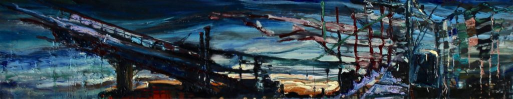 :izbeth Mitty Detroit Nocturne, 2016, 12x72, oil on canvas