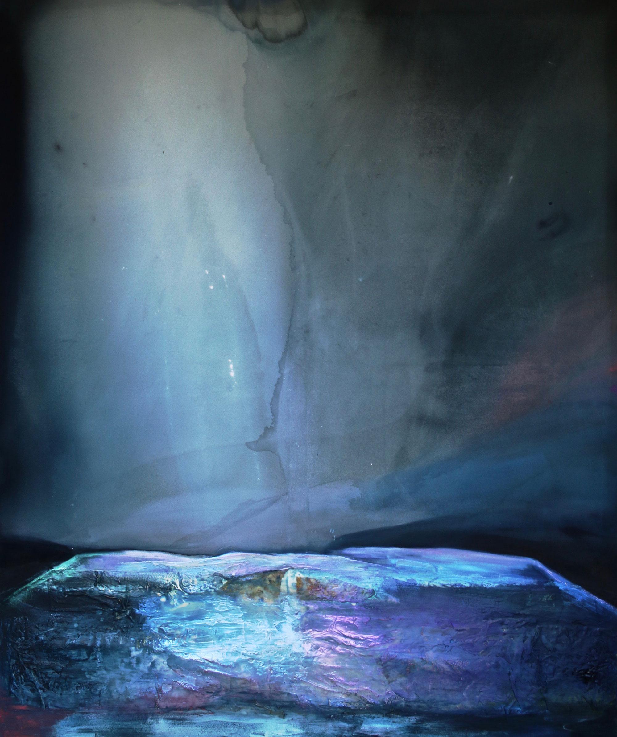"Dana James ""Hollywood"" (2017, ink, dye, oil, encaustic, pigment on canvas 72"" x 60"")"